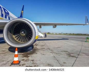 Prague, The Czech Republic, 22.4.2019: Plane Ryanair at the airport in Prague. Closeup of jet engine.