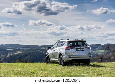 PRAGUE, THE CZECH REPUBLIC, 23. 4. 2018: Toyota RAV4 Hybrid, model year 2018 in Czech in off road