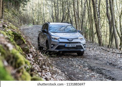 PRAGUE, THE CZECH REPUBLIC, 23. 4. 2018: Toyota RAV4 Hybrid, model year 2018 in Czech in off road