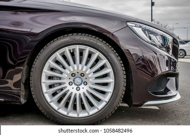PRAGUE, THE CZECH REPUBLIC, 24.3.2018 - Closeup of wheel New luxury car Mercedes Benz S500 coupe parking in front of Car store Mercedes, Prague. Luxury new car S500 coupe parking