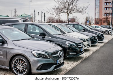 PRAGUE, THE CZECH REPUBLIC, 24.3.2018 - New luxury cars Mercedes Benz parking in front of Car store Mercedes, Prague. Luxury new cars parking in row.