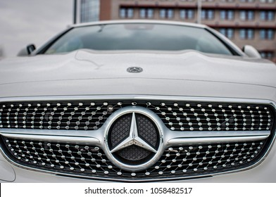 PRAGUE, THE CZECH REPUBLIC, 24.3.2018 - New luxury car Mercedes Benz E400 parking in front of Car store Mercedes, Prague. Luxury new car E400