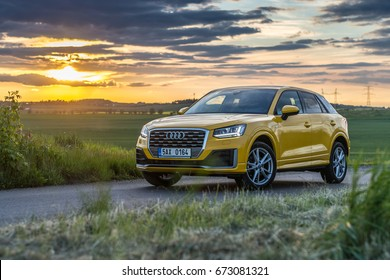 PRAGUE, THE CZECH REPUBLIC, 25. 5. 2017: New Audi Q2 Sport 1.4 TFSI, model year 2017 in Czech on road in sunset