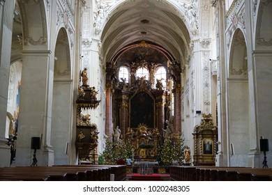 PRAGUE, CZECH REPUBLIC - 25 December 2017.St. Salvator Church at Charles Bridge in Prague. St. Salvator Church is part of a group of buildings forming the oldest Czech Jesuit College - the Klementinum