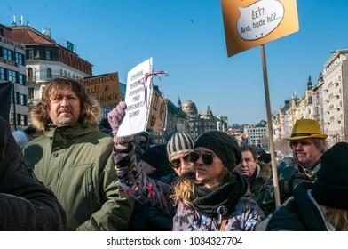 Prague, Czech Republic, 25 February 2018, Demonstration for Freedom,