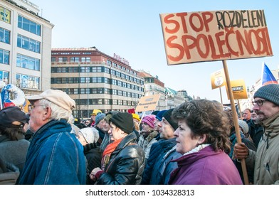 Prague, Czech Republic, 25 February 2018, Demonstration for Freedom,