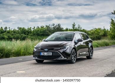 PRAGUE, THE CZECH REPUBLIC, 27. 6. 2019: The New Toyota Corolla Touring Sports 2.0 Hybrid, model year 2019 in Czech