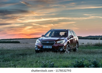 PRAGUE, THE CZECH REPUBLIC, 27. 7. 2018: Subaru Outback, model year 2018 in Czech in sunset