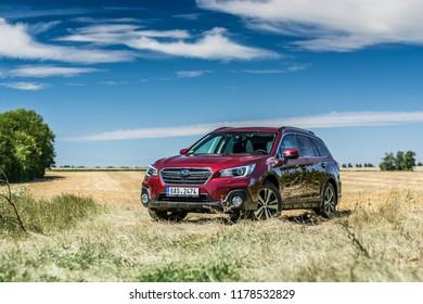 PRAGUE, THE CZECH REPUBLIC, 27. 7. 2018: Subaru Outback, model year 2018 in Czech