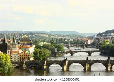 PRAGUE, CZECH REPUBLIC - 27 May 2009. A panoramic view of Vltava River and the bridges of Prague.
