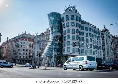 Prague, Czech Republic, 27.6.2019: Mercedes Benz V-class parks in front of building in centre of Prague. Luxury Mercedes on the road.