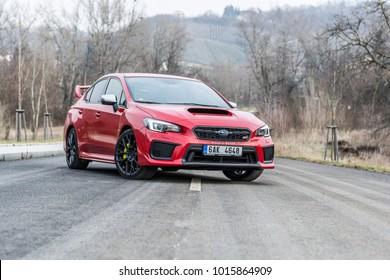 PRAGUE, THE CZECH REPUBLIC, 28. 1. 2018: New Subaru WRX STI, model year 2018 in Czech on road