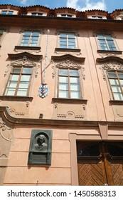 Prague, Czech Republic, 28 June 2019: View of landmark facade house where temporary lived Ludvik Van Beethoven in Prague, Czech Republic.