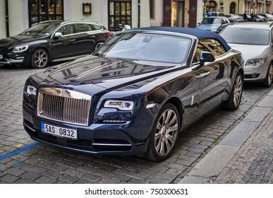 Prague, The Czech Republic, 28.9.2017: Blue Rolls-royce ghost car parking in the street.