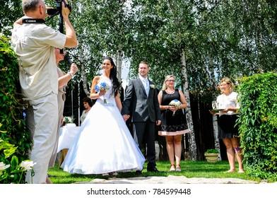 prague, czech republic, 29 Jul 2017, bride and groom now married