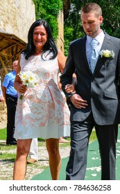 Prague, Czech Republic 29 July 2017 The mother of the groom goes to the altar