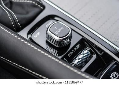 PRAGUE, THE CZECH REPUBLIC, 3. 3. 2018: New Volvo V90 D5, model year 2018 in Czech: Starting button