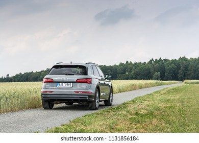 PRAGUE, THE CZECH REPUBLIC, 3. 7. 2018: Audi Q5 Sport 3.0 TDI quattro, model year 2018 in Czech