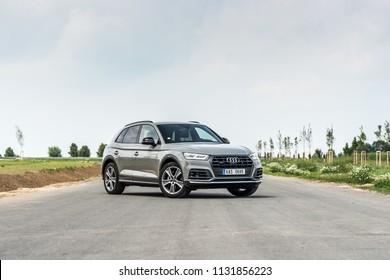 PRAGUE, THE CZECH REPUBLIC, 3. 7. 2018: Audi Q5 Sport 3.0 TDI quattro, model year 2018 in Czech