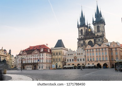 prague, czech republic. 3rd november 2018: beautiful prague old town square at morning