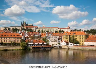 Prague, Czech republic - 4.09.2017: Old Town of Prague and church Saint Vitus in Prague over Vltava river