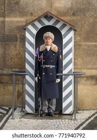 Prague, Czech Republic, 4th Dec 2017: Prague castle guard soldier with winter uniform