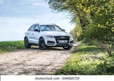 PRAGUE, THE CZECH REPUBLIC, 5. 5. 2017: New Audi Q3 Sport 2.0 TDI, model year 2017 in Czech on road