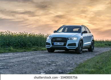 PRAGUE, THE CZECH REPUBLIC, 5. 5. 2017: New Audi Q3 Sport 2.0 TDI, model year 2017 in Czech in sunset