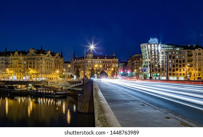 Prague, The Czech Republic, 5.7.2019: Night scenery of dancing houes in Prague. Long time exposure of Dancing house in the citycentre of Prague.