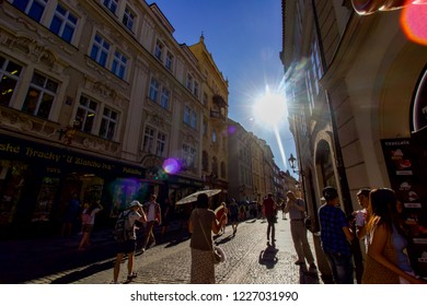 PRAGUE, CZECH REPUBLIC - 6 August 2018: Busy Street with Tourists in the City Centre