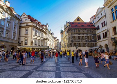 PRAGUE, CZECH REPUBLIC - 6 August 2018: Busy Scene in Old Town Square