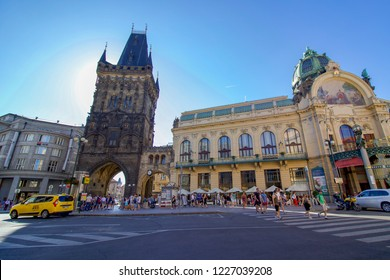 PRAGUE, CZECH REPUBLIC - 6 August 2018: Summer Scene of the Powder Tower in Old Town