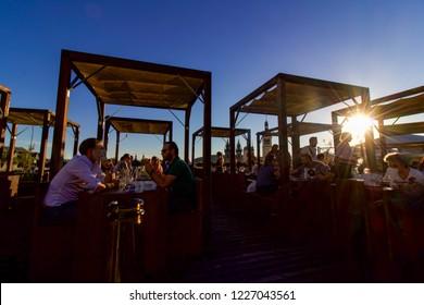 PRAGUE, CZECH REPUBLIC - 6 August 2018: Sunset View of Rooftop Bar, Prague