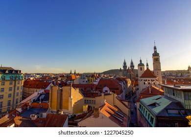 PRAGUE, CZECH REPUBLIC - 6 August 2018: Panoramic Skyline View of Prague City from Rooftop