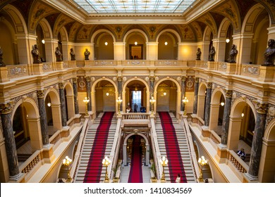 Prague, Czech Republic - 6.05.2019: Interier of National Museum in neo-renaissance style, recently renovated in 2018, located on Wenceslas Square in Prague, Czech republic