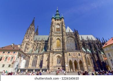 PRAGUE, CZECH REPUBLIC: 7 August 2018 - Famous St Vitus Cathedral, Prague