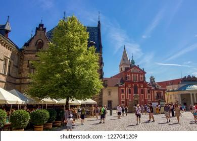 PRAGUE, CZECH REPUBLIC - 7 August 2018: Busy Summer Scene at Prague Castle