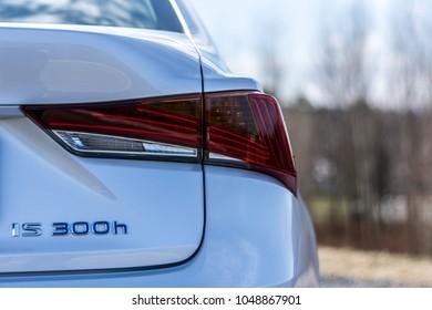 PRAGUE, THE CZECH REPUBLIC, 8. 3. 2018: New Lexus IS 300h, model year 2018 in Czech: Detail of rear light