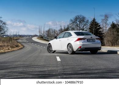 PRAGUE, THE CZECH REPUBLIC, 8. 3. 2018: New Lexus IS 300h, model year 2018 in Czech on road