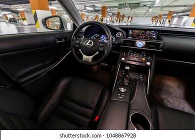 PRAGUE, THE CZECH REPUBLIC, 8. 3. 2018: New Lexus IS 300h, model year 2018 in Czech: Interior