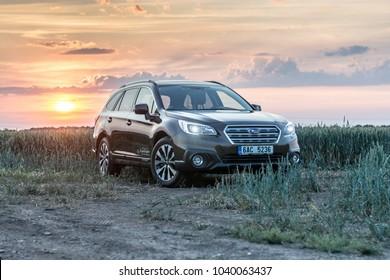 PRAGUE, THE CZECH REPUBLIC, 8. 7. 2017: New Subaru Outback, model year 2017 in Czech in sunset