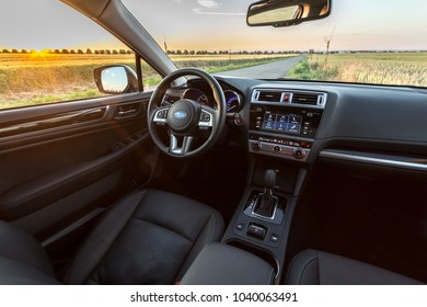 PRAGUE, THE CZECH REPUBLIC, 8. 7. 2017: Interior of the new Subaru Outback, model year 2017 in Czech