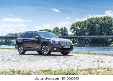 PRAGUE, THE CZECH REPUBLIC, 8. 7. 2017: New Subaru Outback, model year 2017 in Czech