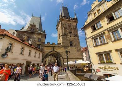 PRAGUE, CZECH REPUBLIC: 8 August 2018 - Busy Scene near Old Town Bridge Tower, Charles Bridge