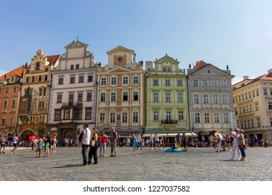 PRAGUE, CZECH REPUBLIC - 8 August 2018: Colourful Houses in Old Town Square, Prague
