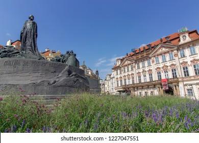 PRAGUE, CZECH REPUBLIC - 8 August 2018: Jan Hus Memorial in Old Town Square