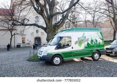 Prague  Czech Republic  -8 December 2017: Beer Van for Prague brewery