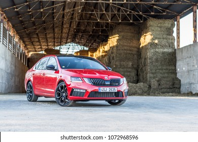PRAGUE, THE CZECH REPUBLIC, 9. 4. 2018: New Skoda Octavia RS 245, model year 2018 in Czech