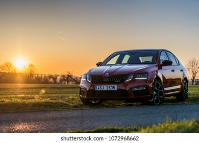 PRAGUE, THE CZECH REPUBLIC, 9. 4. 2018: New Skoda Octavia RS 245, model year 2018 in Czech in sunset