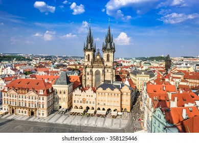 Prague, Czech Republic. Aerial view over Church of Our Lady before Tyn at Old Town square (Starometska) in Praha.